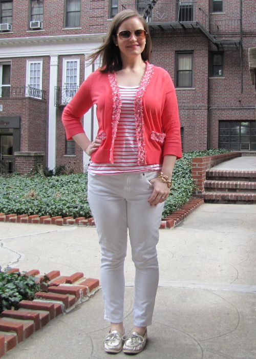 Friday, March 9. Worn to work. Cardigan, Bracelet- Kate Spade / Tee - Old Navy / Jeans - J Crew / Aviators - Canal St vendor /  Metallic Topsiders - Sperry