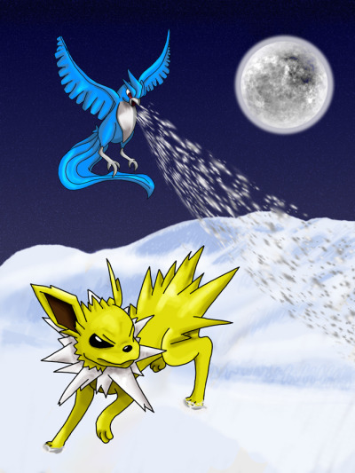 Articuno vs. Jolteon by ~spikestrife