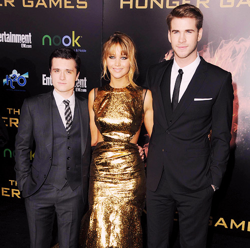 Jennifer, Josh, and Liam at the world premiere of The Hunger Games.