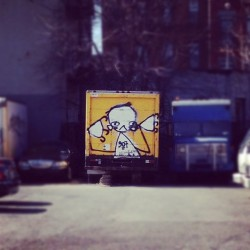 This looks like something I would #paint. Found in #brooklyn. #street #art #graffiti #paint #truck #ochre #rawr (Taken with instagram)