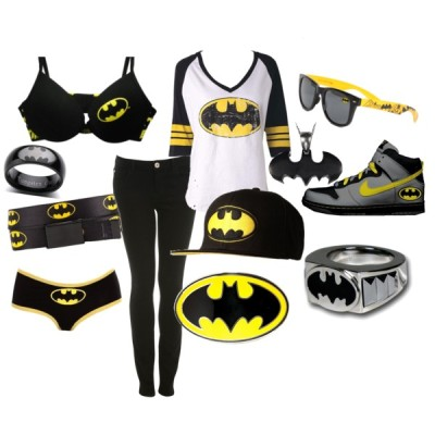 batman by tayweezy featuring retro shadesRaglan t shirt, $25Miss Selfridge black jeans, $68Amazon.com: Torrid Plus Size Batman Black And Yellow Briefs: Clothing, $8.5025 Super Cool Bras We Think You Ladies Should Try OnRetro shades, $13Buckle beltBatman Yellow and Black Classic Logo BuckleChictini - Black 8MM Men Batman Tungsten Wedding Band Ring, $29