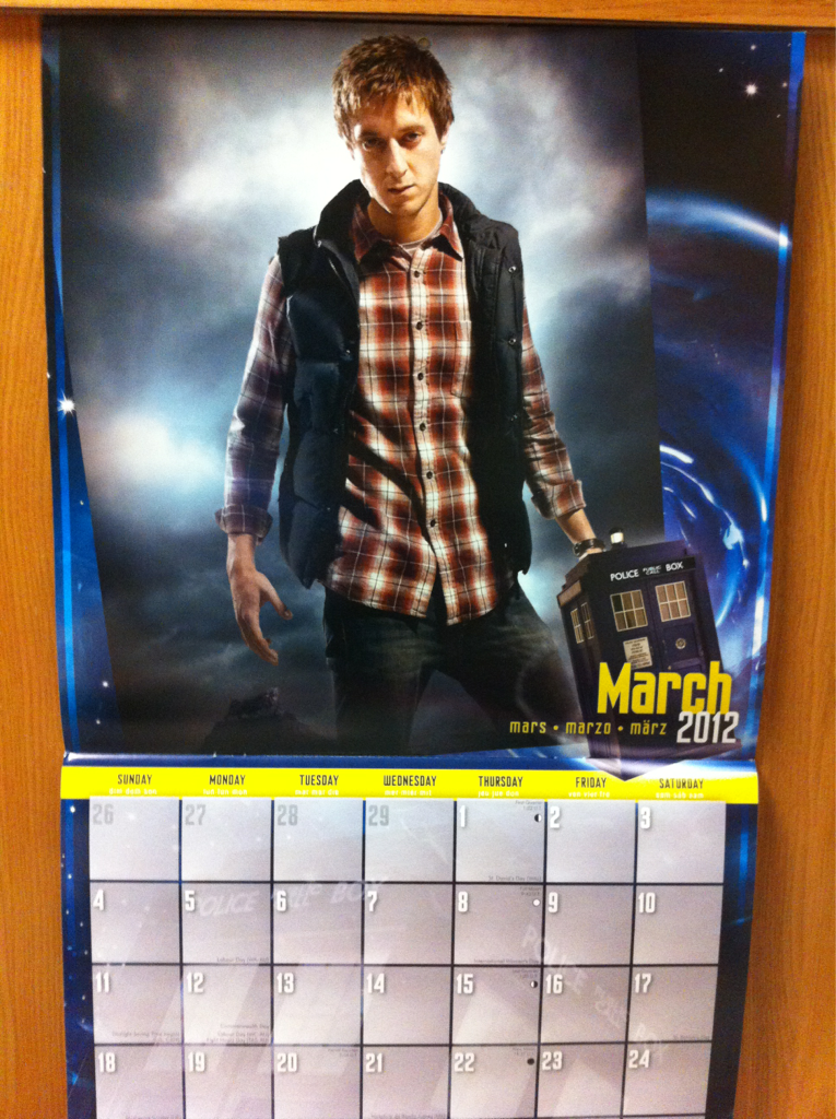 Finally got around to flipping over to the correct month on my Doctor Who calendar. Now check out who's posted to the side of my dresser above my pillow. Times (travelin') New Roman, baby.