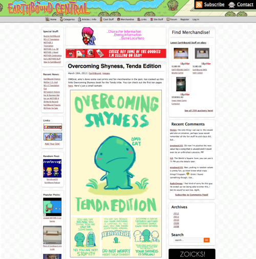 "just noticed that earthbound central did a feature of the ""overcoming shyness"" book a few days back. what great timing! thanks mato!"