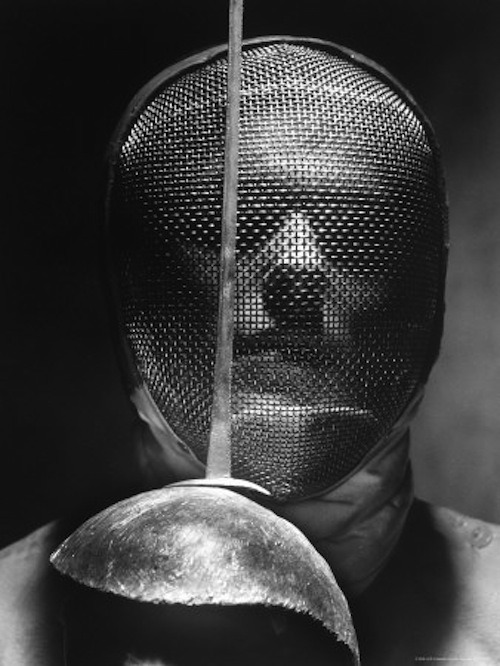 sweet-savage:  Andreas Feininger - Portrait of Fencer Wearing Sabre Mask