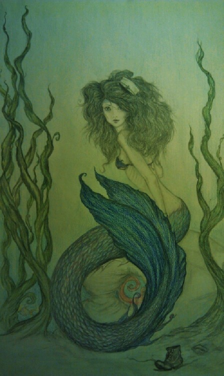 My phone takes shitty pictures.Yar. My latest Mermaid drawing.Enjoy