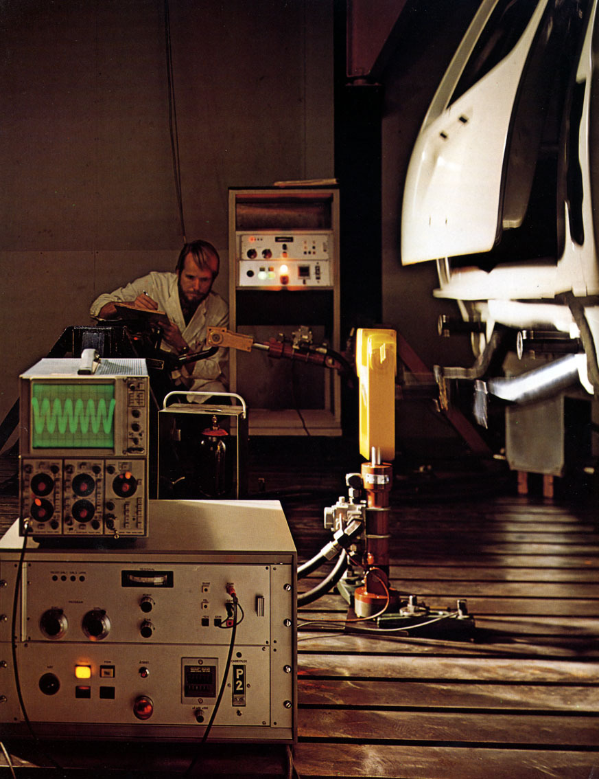 A Volvo engineer hard at pretend-work, 1979.