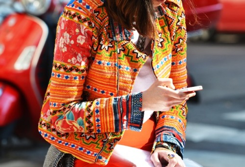 kimberlypesch:  orange print (via Street Style: Print Jackets | Who What Wear.com's Official Blog)