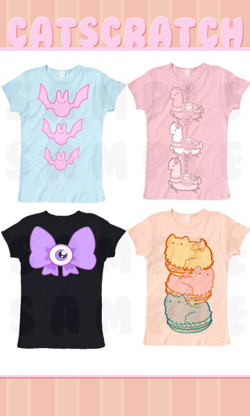 luvbytez:  Sample t-shirt prototypes are coming along nicely c:  Bats, eyeballs, bows, fucking kittens and llamas - I am in heaven!