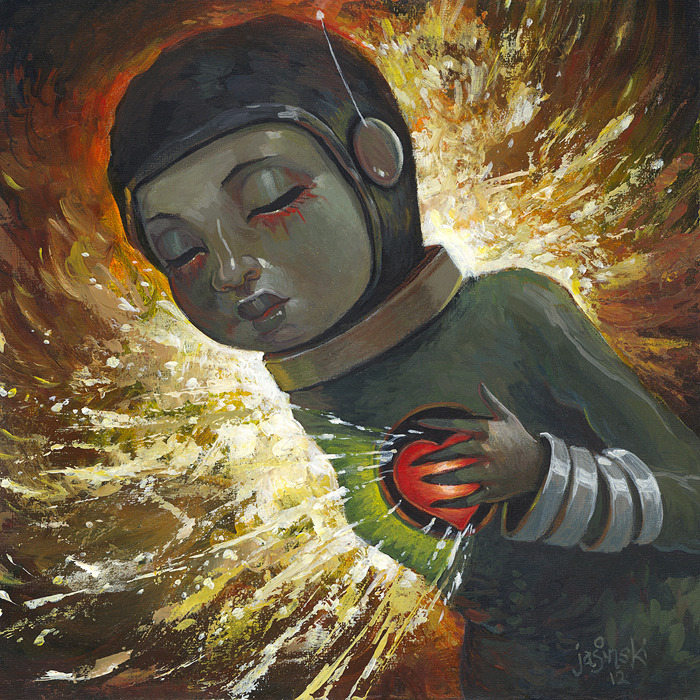 """Wear Your Heart on the Outside"" 8x8 inches. Acrylic on panelFor the big art show ""G40"" in Washington DC in next month."