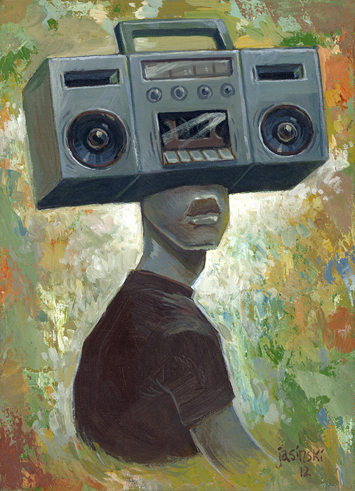 """Tuned In"" 5x7.5 inches. Acrylic on wood panel. Will be on display at the huge art show ""G40"" in Washington DC next month."