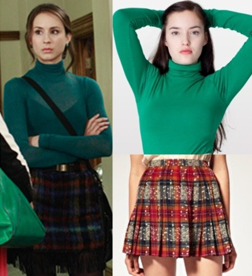 Spencers preppy chic look is easy to achieve with a simple tartan skirt and a turtleneck. With the right colour matching, you could try different variations of tartan colours & turtlenecks.  Under $50 Top:  American Apparel Jersey Turtleneck - $30.00  Skirt:  ASOS Soft Printed Check Kilt Skirt - $21.50