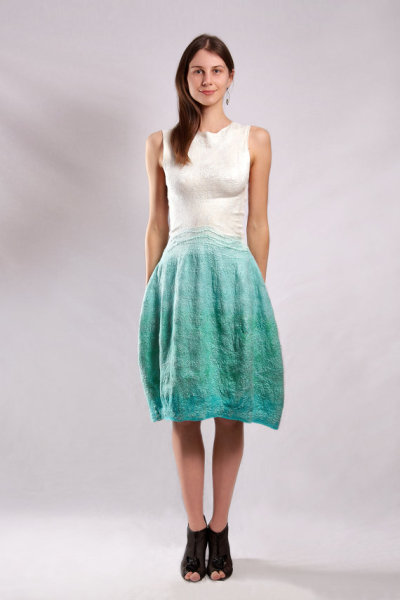 """Aqua"" Felted Dress by Baymut"