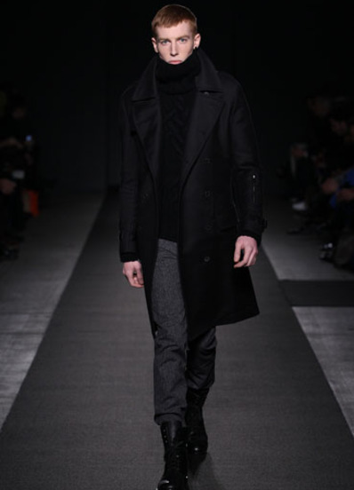 What Would Robb Stark Wear? Black Double-face Cotton Twill Trench Coat + Black Cashmere Hand-knit Cable Roll-neck Sweater by Simon Spurr - A/W 2011