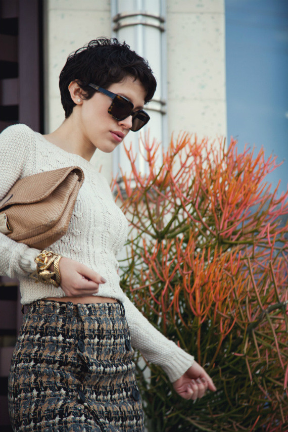 streetstyled:  Zara cropped cable knit sweater, Balenciaga sandals, Elizabeth and James sunglasses, Roberto Cavalli snake cuff, and Karla Deras for Roman Luxe chain bracelet.