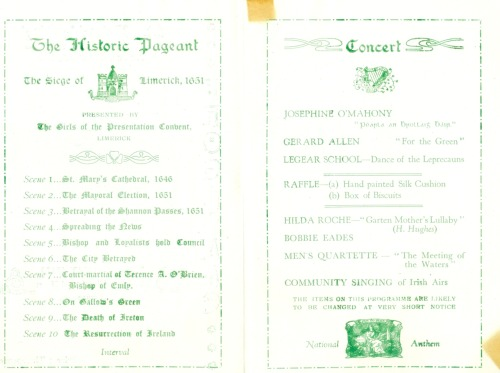 St. Patrick's Night, 1952 Programme for a concert on the 17th March 1952, featuring singing and dancing - mostly with Irish themes, held at the Concert Hall, College of the Sacred Heart, Limerick. The 1952 concert begins with an historic pageant, performed by the girls of the Presentation Convent, Limerick: 'The Siege of Limerick, 1651'. See on flickr.