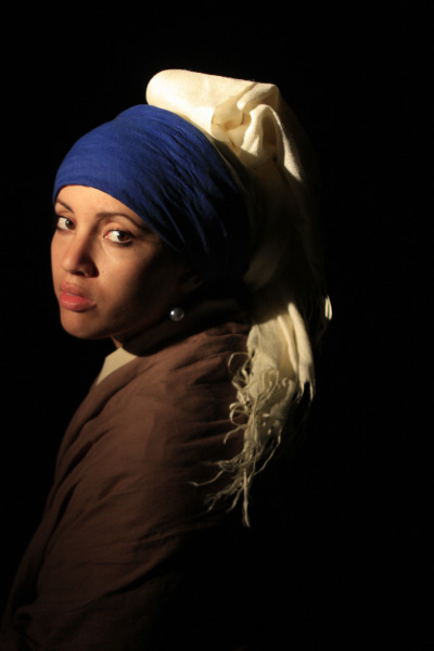 "My adaptation of ""Girl with a pearl earring"" of Johannes Vermeer."