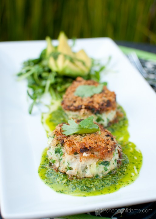 Crab Cakes with avocado @kitchenconfidante.com