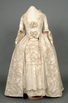 Wedding Dress. 18th century (1758). Cream silk. Shrewsbury Museums Service (SHYMS: T/1983/1/5).