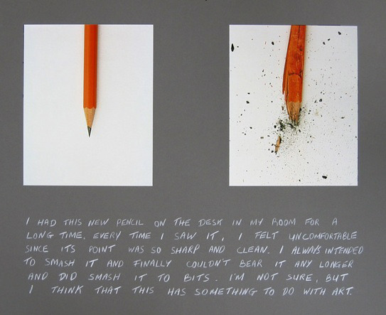 "keraban-le-tetu:  Maurice Doherty, The Pencil Story, 2003 efers to John Baldessari's Pencil Story (1972-3), in which he found an old, blunt pencil and sharpened it. In this work the gesture is re-interpreted and a new sharpened pencil is smashed to bits"" (M. Doherty)."