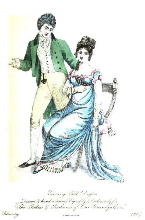 The Follies and Fashions of our Grandfathers, Evening Full Dress for Ladies and Gentlemen, February 1807.
