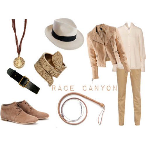 Race Canyon by bluffingtondesigns featuring twist jewelryTheyskens theory button up blouse, $385H M suede leather jacket, £30Vero Moda pleated pants, €32Tod's flat shoes, $565Twist jewelry, $15Ettika feather jewelry, $63Azzedine Alaia belt
