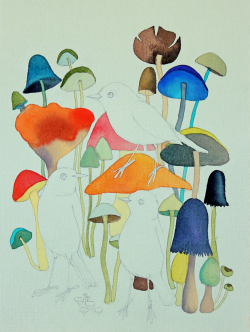 microwalrus:  Robot Heart - (via Geninne's Art Blog: Mushroom Jungle)