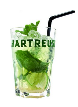 Cocktail Chartreus'ito Muddle 1/4 lime and sugar in the glassadd fresh mint leaves, ice cubesand 3 cl Green Chartreuse,top up with soda,stir and serve with straws