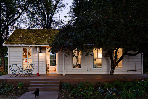 wonderfulmachine:  Tiny House  It's pretty fascinating. The house was remodeled from all reclaimed materials. It was first built in the early 1940s as a part of Vanport Village; a quickly erected development built to house shipyard workers. When Vanport Village flooded in 1948, this particular little house was floated down the river to Sauvie Island, where it became the goose-check station. Years later, it was remodeled to become a rental house. As part of the remodel, the worn out roof was replaced with a green roof, planted with moss and ferns gathered along the Columbia River Gorge.