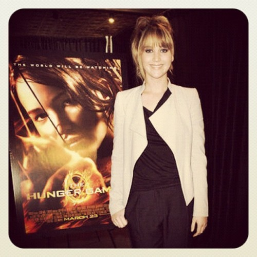 SPOTLIGHT.  Jennifer Lawrence touring for her upcoming film The Hunger Games in our SS12 Web Jersey Top.