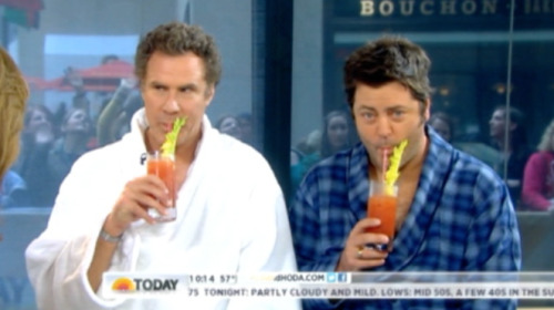 tallwhitney:  Will Ferrell and Nick Offerman are drinking bloody marys and wearing robes on the Kathie Lee and Hoda hour. BEST.
