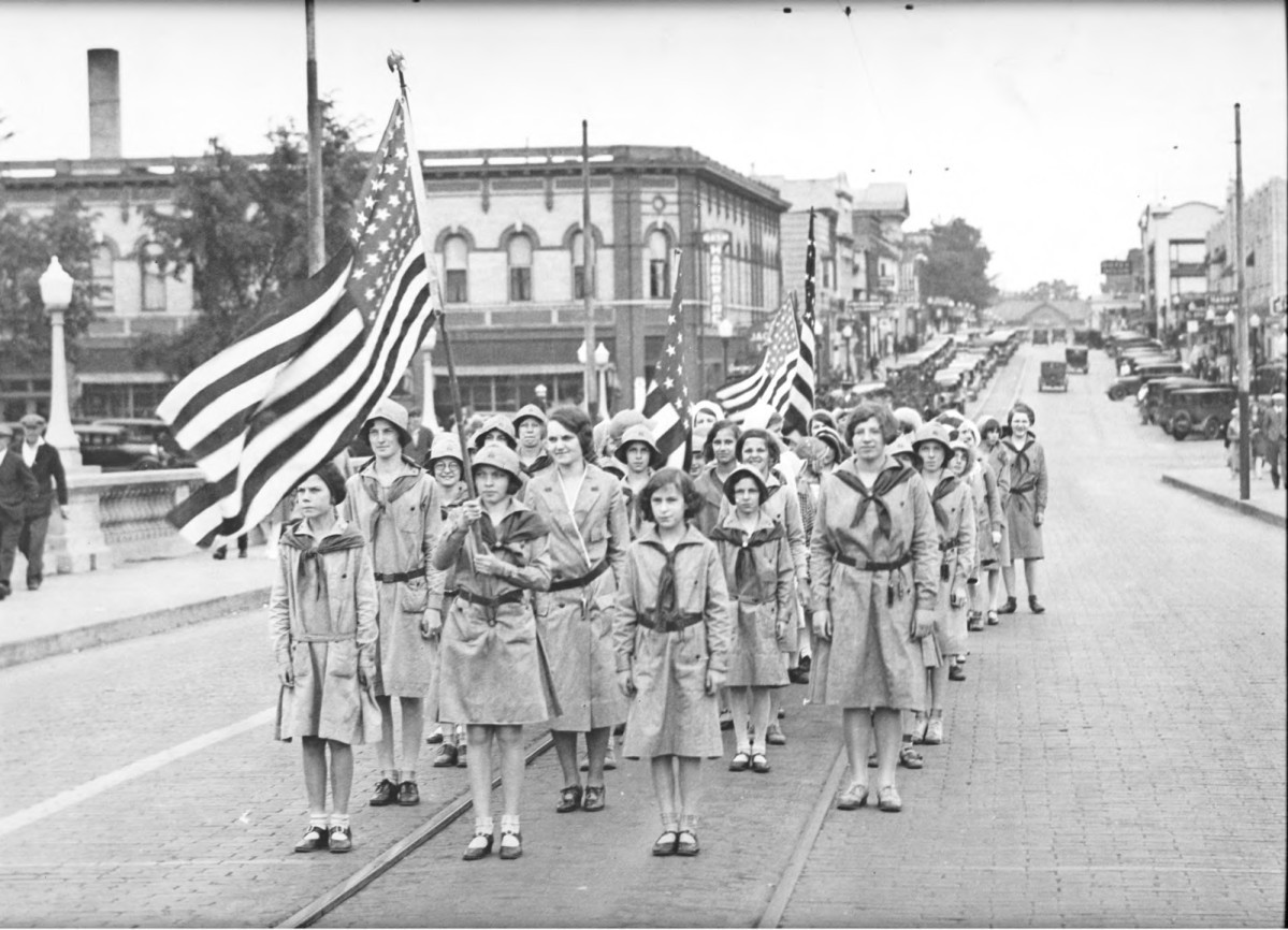 Girl Scouts march in Memorial Day parade, Wisconsin Rapids, 1931. via: McMillan Memorial Library