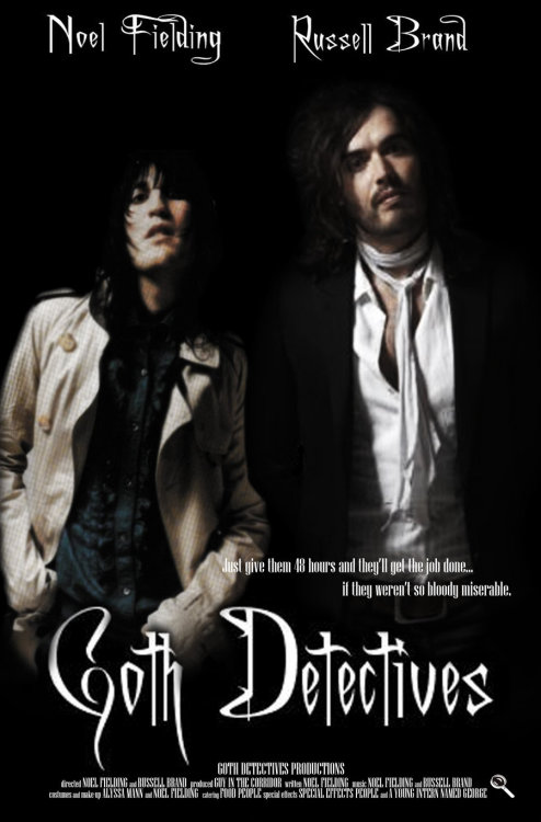 rebelrussell:  Goth Detectives - The Movie by ~AlyssaTolensky  This needs to happen! Their hairs would get stuck together with hairspray, they'd have banana battlements for security, and of course Bob Skeleton shouldn't forget to wear his Jack the Ripper cape!