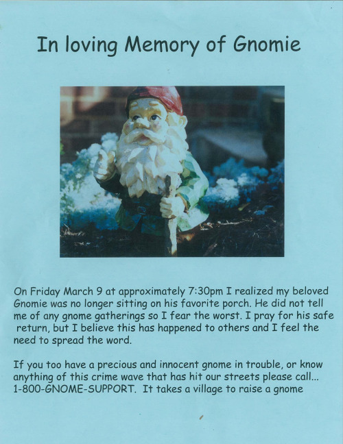 So someone stole a bunch a Garden Gnomes, one of mine included, from our street. This is my responce.