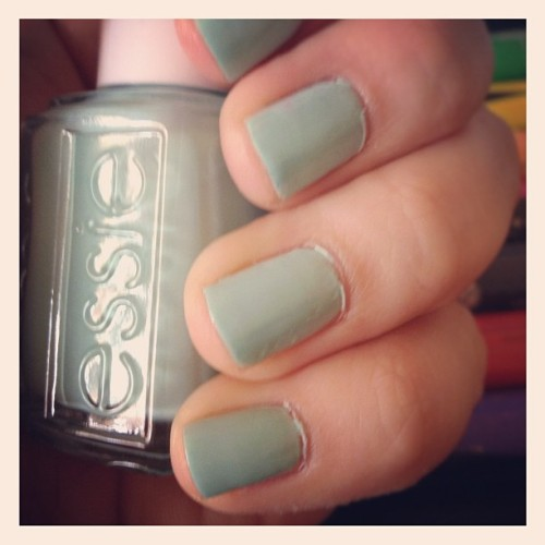 "Here are my ""Mint Candy Apple"" by Essie nails up close and personal.  I've gotten some great colors from Essie recently, can't wait to try this fantastic spring time coral I just picked up.  Perhaps next week!!"