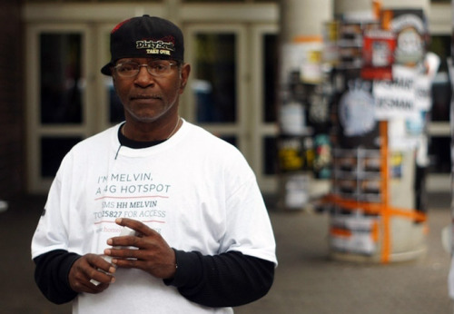 "thedailyfeed:  You'd think that everyone would cheer for giving homeless people the hookup, but one company's effort to turn homeless people into wireless hotspots at the South by Southwest festival is just causing controversy.   Standing in front of the Austin Convention Center, surrounded by throngs of revelers, [Mark] West, 44, calls out: ""Hotspot! Hotspot! Wireless connection! 4G! Need to get online? I'm your guy!"" And plenty of Internet geeks are accessing the WiFi hotspot around his neck, a program of BBH Labs, a New York City-based marketing company. To access West's hotspot, users send a text message to a number printed on his T-shirt. They then get an access code for the Verizon MiFi 4G around his neck. Users are asked to donate $2 per 15 minutes; West is quick to add they can donate more. ""There are a lot of stereotypes out there that homeless people don't want to work,"" he said. ""I applaud BBH for giving me an opportunity to raise out of my circumstances.""  What do you think? Is that clever, or just crass?"