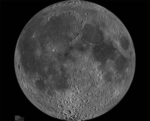 "discoverynews:  Why the Moon is Always Looking at Earth One side of the moon is always facing us. Why? keep reading Image: The ""man in the moon."" Source: NASA Goddard/Arizona State University.  It's cause we're untrustworthy and the Moon has to keep an eye on us."