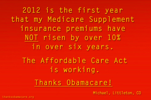 Michael in Littleton, Colorado is saying #ThanksObamacare for helping keep his health insurance premiums down.