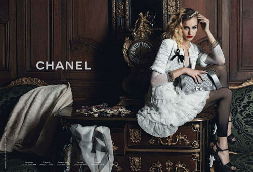 peacelovechanel:  Alice Dellal for the Chanel 'Boy' collection.