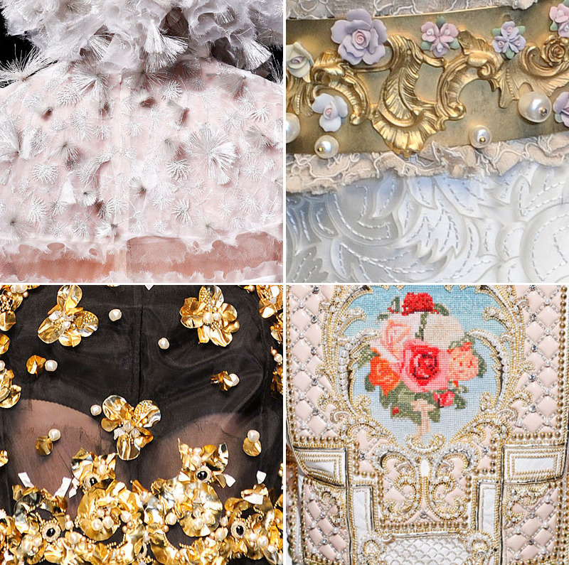fall 2012 exquisite embellishments and embroidery designs alexander mcqueen (1) / dolce & gabbana (2,3) / balmain (4)