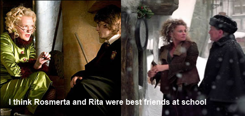 harrypotterconfessions:  I think Rosmerta and Rita were best friends at school. Rosmerta was a gossip and became a bartender and they drifted apart because Rita started using her to get stories. Rita went on to great things, but Rosmerta stayed at the three broomsticks and they still enjoyed seeing each other when Rita came in for a drink, but they never sat down together with a cup of tea and talked for hours like they used to. graphic submitted.