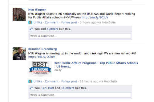 "NYU Wagner students react to release of US News and World Report 2013 rankings #NYUWnews ""I am excited and proud to be part of a such a high performing school, one that is not solely focused on the academics, but also on the people and mission it serves to develop the brightest and best leaders of tomorrow."" - Brandon Greenberg, MPA Candidate, c/o 2013"
