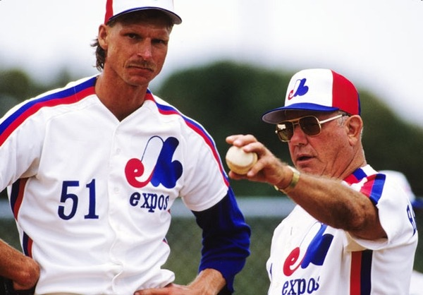 Remember when Randy was an Expo? Here's Montreal rookie pitcher Randy Johnson speaks with Expos pitching coach George Bamberger.