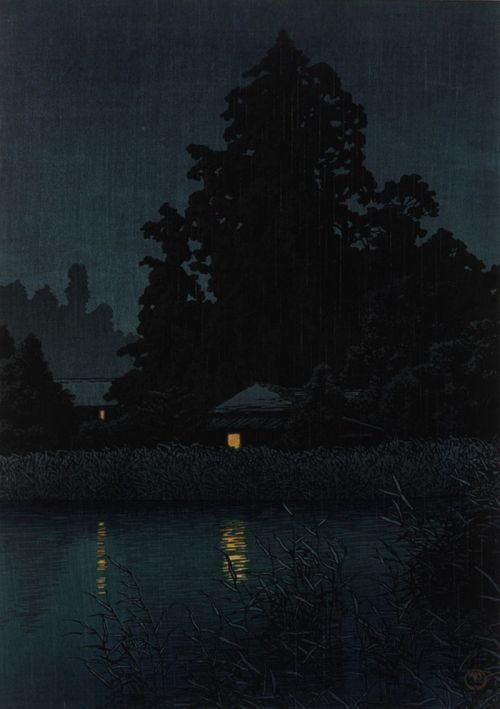 yama-bato:  Night Rain At Omiya 1930 Kawase Hasui , (Japanese, 1883 - 1957)  Showa era  Woodblock print; ink and color on paper H: 27.0 W: 37.8 cm  Japan