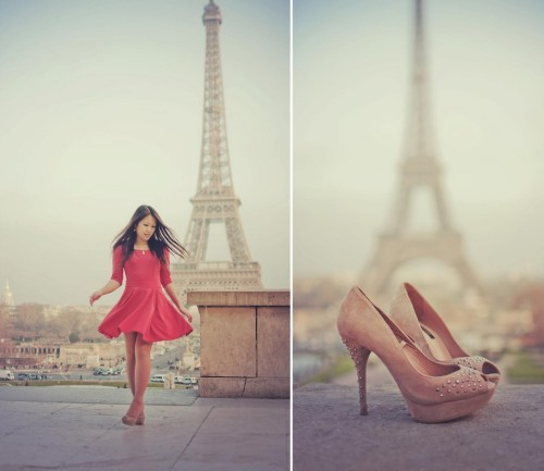 RED DRESS - Romwe.com | SHOES - ZARA Une journée à Paris avec Johanne qui se transforme en petit shooting à la Tour Eiffel. ^^