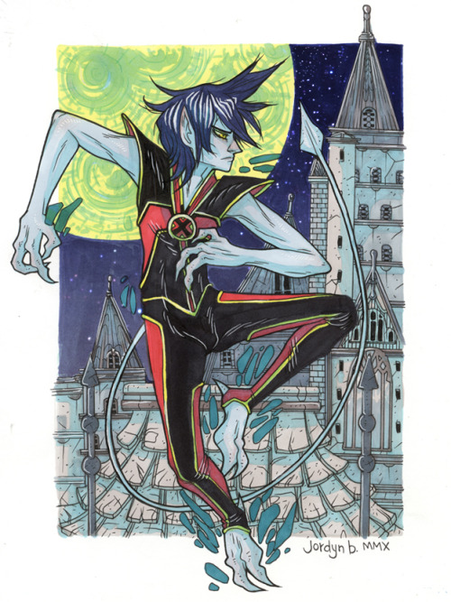 I was looking through my arts and rediscovered this Nightcrawler commission I drew while I was living in Montreal (most likely recovering from getting hit by a car, if I recall my repressed memories correctly ha ha ha). I've never actually read comics starring this dude, but I do appreciate blue skin. Markers and ink and feelings.