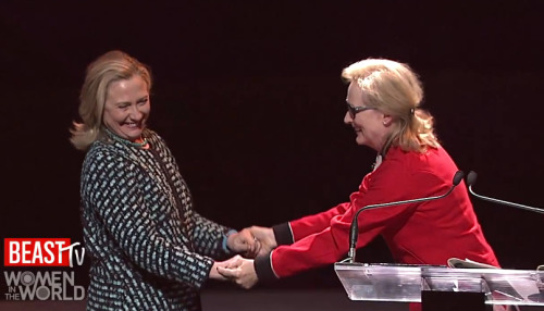 Meryl Streep introduces Hillary Clinton at the Women in the World Summit:   I find a lot of similarities: We're roughly the same age, we both have two brothers — mine are annoying — we both grew up in middle-class homes with spirited, big-hearted mothers who encouraged us to do something valuable and interesting with our lives. We both went from public high schools to distinguished women's colleges. …We both went on to graduate school at Yale, which is where the two paths diverged in the wood. Where Hillary aimed her life and where it landed was evident very early on. While I was a cheerleader, she was the president of the student government. Where I was the lead in all three musicals, people who know her tell me she should never be encouraged to sing. Regardless, she has turned out to be the voice of her generation. I'm an actress, and she is the real deal. … This is what you get when you play a world leader. But if you want a real world leader, and you're really, really lucky, this is what you get.  [video] [thedailybeast] [via]