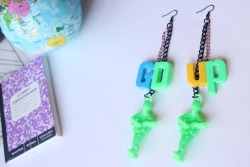GD up. Army men and Magnetic letters on earrings. Green. pink. BLUE.