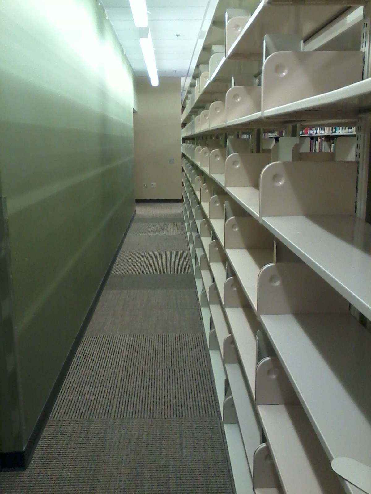 Empty shelves in a library