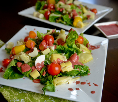 findvegan:  A zesty artichoke, hearts of palm salad, raspberry vinaigrette