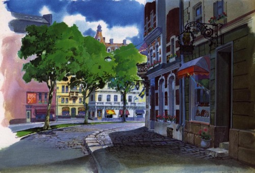 animationtidbits:  Kiki's Delivery Service - Backgrounds